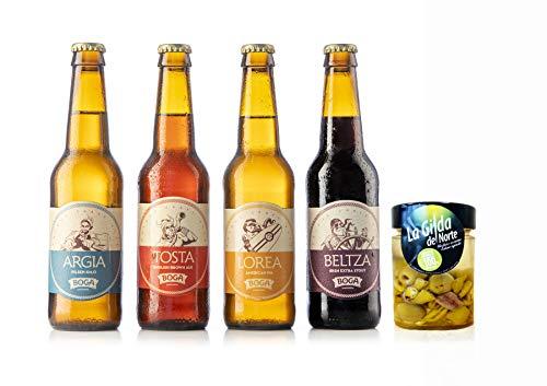 BOGA GARAGARDOA - Surtido para degustación - regalo original cerveza - maridaje de cerveza artesana con gildas de anchoa