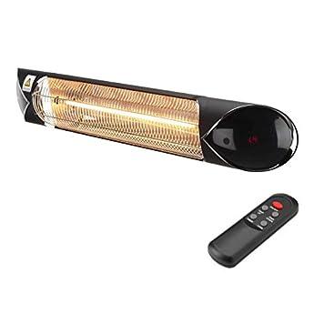 Foto di Lampada Infrarossi Riscaldante a bassa luminosità con telecomando e lampadina in Carbonio, 2000 Watt, IP55, 4 Livelli di Potenza, Interno e Esterno, Bassi Consumi Blaze2000, Nero