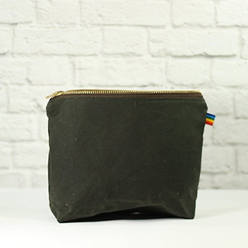 Olive Green Waxed Canvas Bag with Brass Zipper
