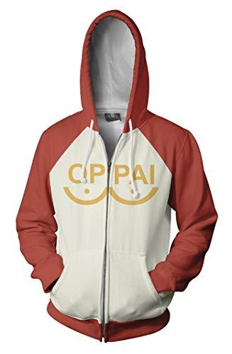Cosplaybala Man Oppai Saitama Cosplay Costume Hoodie Zipper Sweatshirt (XL, Orange)
