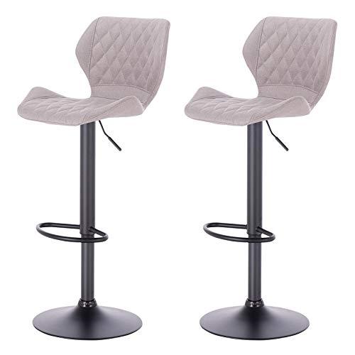 eSituro SBST0370-2 2 x Barhocker Küchenstuhl Barstuhl, höhenverstellbar & 360° drehbar, 2er Set Bar Hocker aus hochwertigem Leinen, Hellgrau