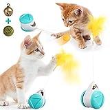 JOSEKO Balance Interactive Cat Toy, Catnip Ball & Bells Balance Rotating Swing Car Toy Interesante Interactive Cat Toy Lindo Gato Azul Juguete