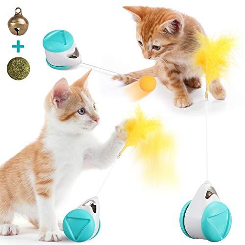JOSEKO Balance Katzenspielzeug Interaktiv, Katzenminze Ball & Glocken Balance Drehender Swing Autospielzeug Interessant interaktives Spielzeug für Katze Nettes blaues Katzenspielzeug Blau M