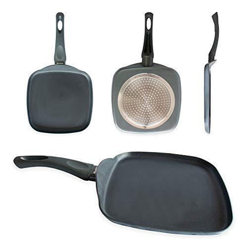 Quttin Ross - Parrilla Asadora Grill Pequeña, Todo Tipo de Cocinas con Mango, Fondo Rayado, Aluminio con Doble Capa Antiadherente Ceramica, Azul, 24 cm