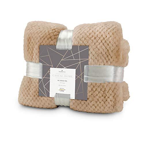 Römer Wellness XXL Decke Feel Karamell, extra große Kuscheldecke auch für Paare: 220 x 240 cm, 275 g/m², weich, warm, flauschig, ganzjährig als Wohndecke, mit Satinband verpackt
