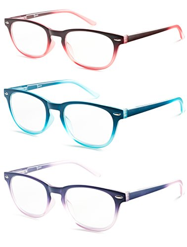 Colorful Round Womens Reading Glasses for Reading - Set of 3 - Blue, Pink, Purple, Value Pack - +1.75