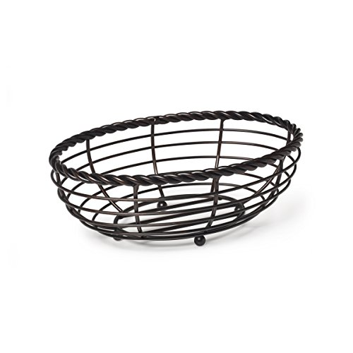 Gourmet Basics by Mikasa Rope Metal Oval Bread Basket, Black, 11-Inch -
