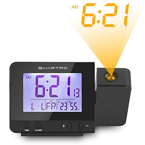 SMARTRO Projection Alarm Clock Digital Clock with Indoor Thermometer Hygrometer, USB Charger, Dual Alarm Clocks for Bedrooms, Travel, AC & Battery Operated