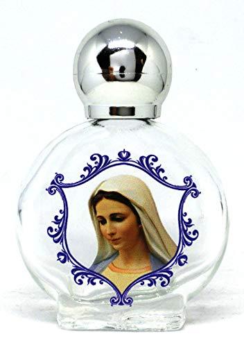 GTBITALY Maria Madonna di medugorje Bottiglia bottiglietta in Vetro con Tappo Argento per Acqua Santa con Stampa UV Ultra violetti