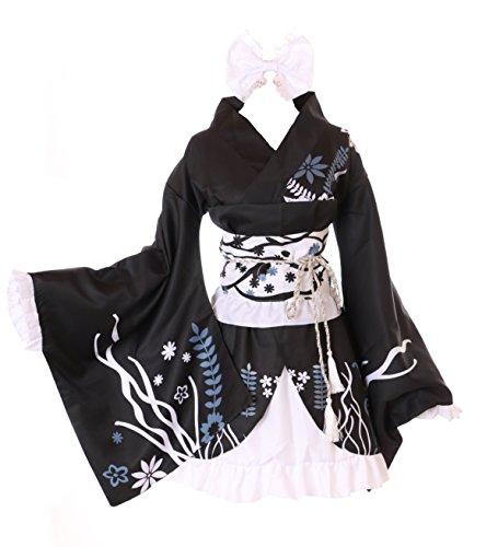 Kawaii-Story MN-28 Haruka Kasugano Yosuga no Sora schwarz 6-TLG. Kimono Set Wa-Qi Lolita Cosplay Kostüm (XXL)