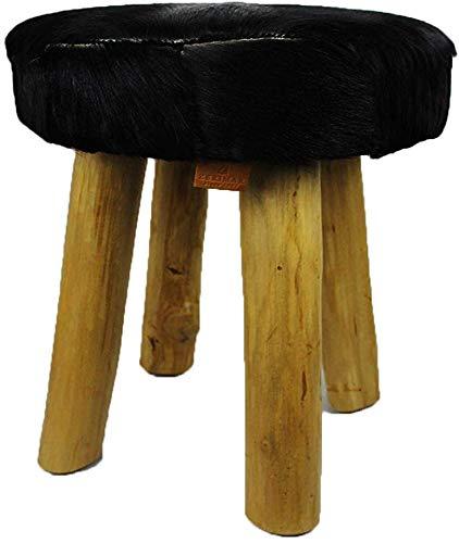 Zerimar Teakhouten kruk  Gevoerde Natuurlijke Geitenhuid  Nachtkastje  Lage ontlasting  Vintage houten krukken (zwart)