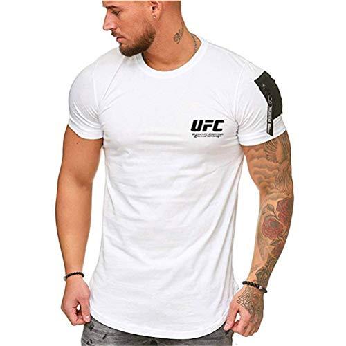 Camiseta Estampada Camisetas para Hombres, Top De Manga Corta De Deportes con Impresión UFC, Trabajando En La Ropa Deportiva (Color : White-3, Size : Small)