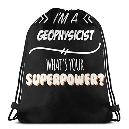 Geophysiker Lustiges Supermacht-Slogan-Geschenk für jeden Geophysiker Lustiges Slogan-Hobby-Arbeiter-Sporttasche Gym Sack Kordelzug Rucksack für Gym-Shopping