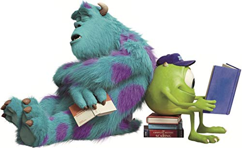14 INCH Sulley & Mike Wazowski Studying Decal James P. Sullivan Monsters Inc University Repositionable Removable Peel Self Stick Wall Sticker Art Home Decor (Decoration for Walls Laptop) 14 x 9 inch