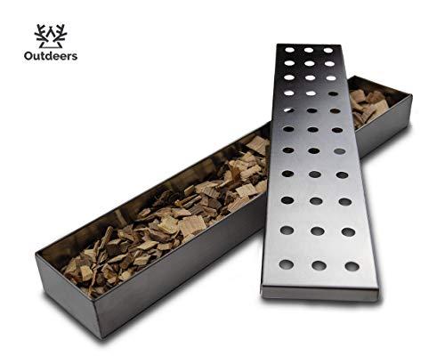 Outdeers Räucherbox aus rostfreiem Edelstahl | Extralange Smokerbox für alle Gasgrill & Holzkohlegrill | Grillzubehör zum Räuchern für Ihr BBQ