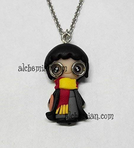 Harry Potter, collana con pendente modellato a mano in FIMO nichel free 35mm, Hogwarts Rowling