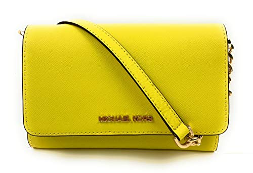 Michael Kors Jet Set Travel Snap Closure Multifunction Phone Case/Holder Crossbody Snap Closure, Removable Wrist Strap, eight Interior Card Slots, With 4 Interior Slip Pockets and one Zip pocket Adjustable Chain/Leather Crossbody Strap Drop 21-24 Inc...