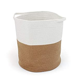 SONGWAY Woven Basket for Storage – Collapsible Laundry Basket Large, Clothes Hampers for Laundry, Hampers for Laundry Kids with Handles