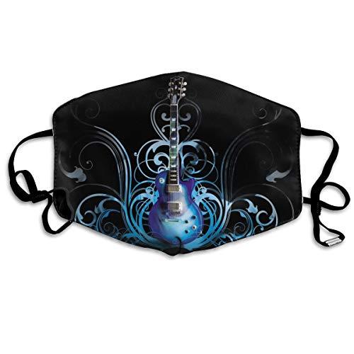 NA Outdoor Mond Gezicht Masker Leuke Blauw Elektrische Gitaar Kinderen Anti Stof Half Gezicht voor Kinderen Tieners Mannen Vrouwen Liefhebbers Stofdicht Verstelbare Oor Loops