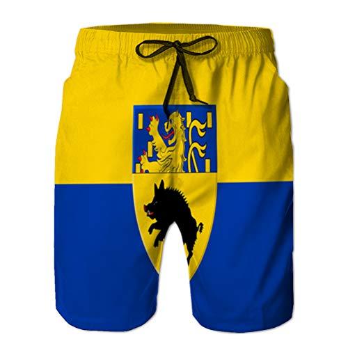 jiilwkie Herren Badehose Beach Shorts Quick Dry Board Kurze Flagge von Netphen in Nordrhein Westfalen Deutschland L