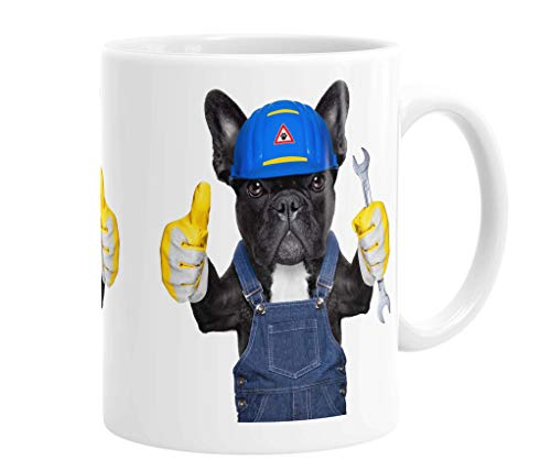 Mok/kopje/koffiemok/koffiepot van keramiek - 330 ml Thema: Franse buldog met helm en handschoenen (27)