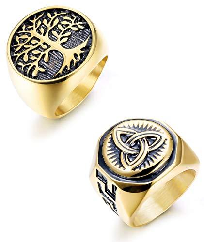 Hanpabum 2Pcs 18K Gold Plated Stainless Steel Rings for Men Celtic Knot Signet & Tree of Life Rings Set Size 7-13