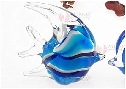 ARTE DEGLI ARGENTI Artes de Plata, 1 bombonera, pez Luna Tropical, Azul y Celeste esfumado, Altura 11 cm, de Cristal de Murano, Fabricado en Italia para Bodas, bautizos, confirmaciones 38024