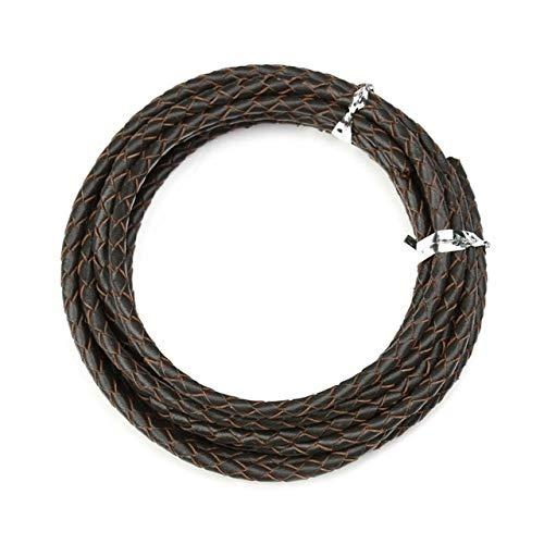 HKFG 2 Metros/Lote 3mm 4mm cordón de Cuero Trenzado Genuino para Hacer Pulseras de Cuero Collar de Cuerda de Hilo de Cuero Redondo fabricación de Joyas