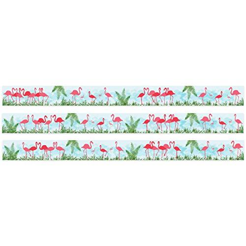 Wandkings Bordüre - Wähle ein Motiv - Flamingo Urban Jungle - 3x selbstklebende Wandbordüren je 150 cm - Gesamtlänge: 450 cm - Höhe: 12,5 cm