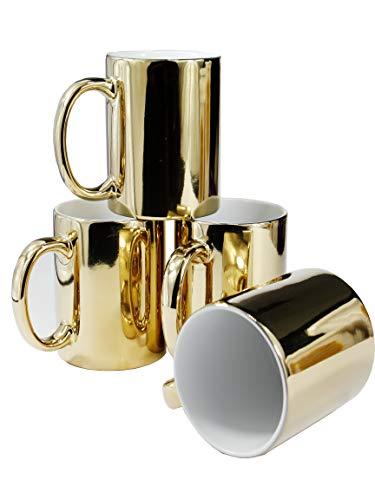 Kaffeetassen Gold Keramik Tassen Set von 4 Keramiktassen für Kaffee, Tee, Kakao (340 ml)