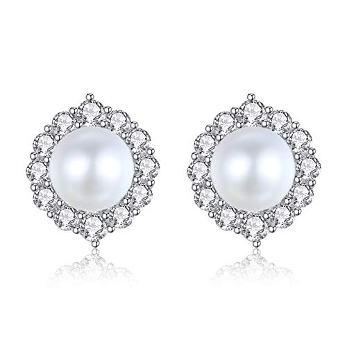 VIKI LYNN 5A Freshwater Cultured 6-7mm Round Pearl Earrings for Women Ladies with Cubic Zirconia Halo