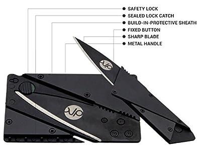 Multi Functional Metal Handle Credit Card Folding Knife Survival - Hunting Pocket Knife - Credit Card Shape Survival Tools Knife / Cutter - Letter Opener Knife - Stainless Steel Blade | Black | PU Bag from KP Outdoor