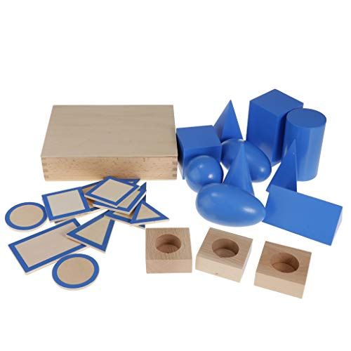 PETSOLA Holz Montessori Mathe Geometrische Körper Forme Kinder Lehrspiele Spielzeug