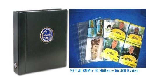 SAFE 481 autografiekaarten album ringbinder compact A4 PREMIUM COLLECTIE met gekleurde 3D metalen plakband + 50 x SAFE 5471 verzamelhoesjes - Aanvullende bladen A4 per vel tot 8 autografen = latz voor 400 kaarten - uitbreidbaar - goed & goedkoop