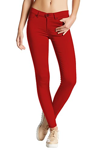 Womens Super Stretch Comfy Skinny Pants P44876SK RED Large