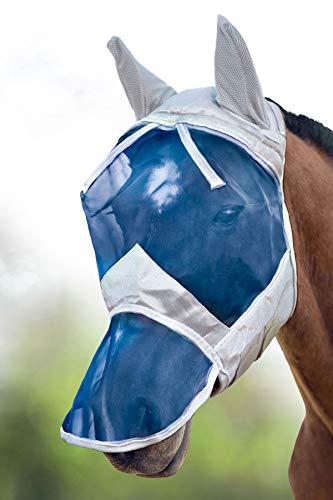 Harrison Howard CareMaster Máscara Anti-Moscas Protección con Orejas y Nariz Plata/Azul (L; Full Size)