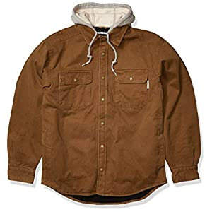 Men's Fleece Lined Cotton Duck Canvas Hooded Shirt Jacket, Chestnut, ...