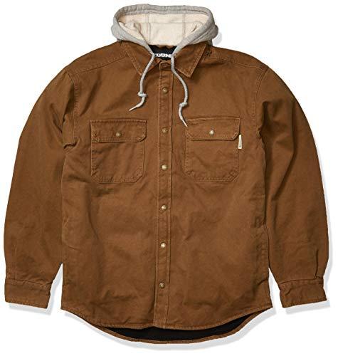 Wolverine Men's Overman Fleece Lined Cotton Duck Canvas Hooded Shirt Jacket, Chestnut, 2X-Large
