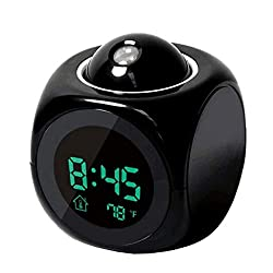 Meet&sunshine Multi-Function Digital LCD Alarm Clock Voice Talking LED Projection Bedroom Wake Up with Data and Temperature Wall/Ceiling Projection