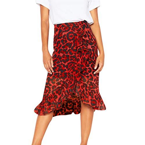 Xuthuly Frauen-Weinlese-reizvoller Leopard-Druck-hohe Taillen-Faltenrock-Damen-klassischer eleganter Rüsche-unregelmäßiger Rand-Rock
