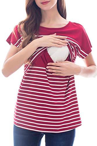 Smallshow Stillshirt Kurzarm Umstands Tshirt Umstandstop Umstandsmode Stilltop Baumwolle Schwangerschaft Streifen Shirt Wine L
