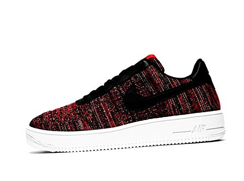 Nike Mens Air Force 1 Flyknit 2.0 University Red/Wolf Grey/White/Black CI0051-600 Basketball Shoes (10.5)