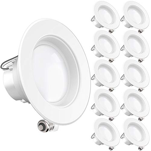 Sunco Lighting 10 Pack 4 Inch LED Recessed Downlight, Baffle Trim, Dimmable, 11W=60W, 2700K Soft White, 660 LM, Damp Rated, Simple Retrofit Installation - UL + Energy Star