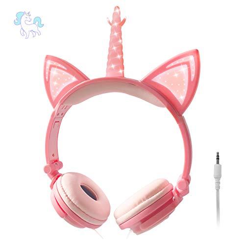 ONTA Kopfhörer Kinder,Katzen Einhorn Kopfhörer mit Leuchtenden LED Katzenohren,Faltbarer Leichter Kinderkopfhörer, 3,5mm Audio Anschluss,Verstellbares Headset mit Lautstärkeregelung für Handys/Tablets
