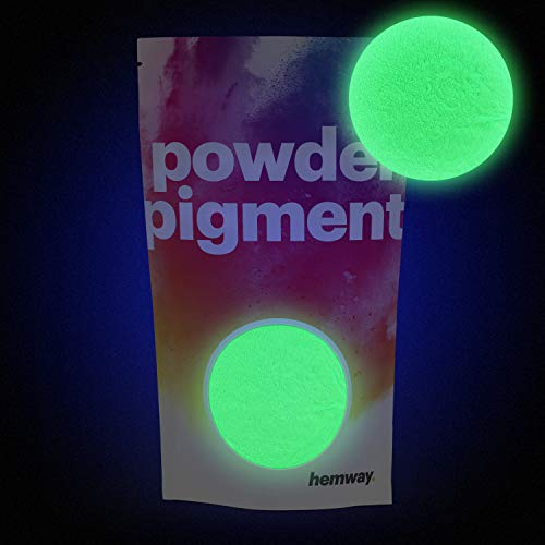 Hemway - Polvo brillante en la oscuridad, 100 g, pigmento fosforescente luminoso de color