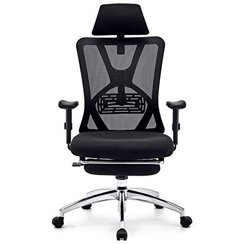 Ticova オフィスチェア 人間工学椅子 足置き台付き 調節可能 な腰サポーとヘッドレストとアームレスト付き 厚手 座面 140度リクライニングチェア 搖りチェア パソコンチェア デスクチェア ハイバック事務椅子 メッシュチェア