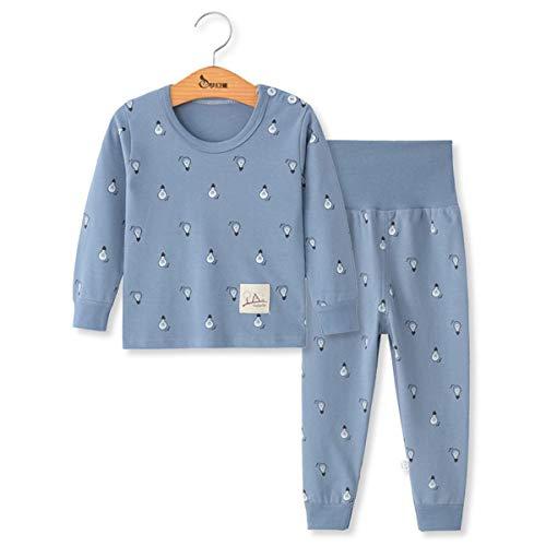 Kinder Baumwolle Schlafanzug Langarm, Morbuy Herbst Winter Baby Bekleidungsset Kleinkind Jungen Mädchen Nachtwäsche Zweiteiliger Pyjamas Sets Kleinkind 1-5 Jahre (3T - 90 cm,Blaue Lampe)