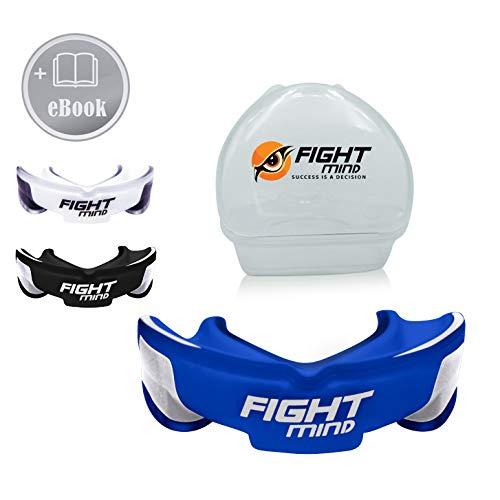 Fight Mind - Protector bucal sin BPA para artes marciales, artes marciales, MMA, Krav MAGA, hockey, fútbol americano, con libro electrónico (idioma español no garantizado)