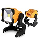 LED Work Light Battery Powered - 20W 2800LM 4000K LED Working Light Powered by Cordless Tool Battery and DC Adapter - Multiple Mount for Jobsite - Workshop - Construction Site