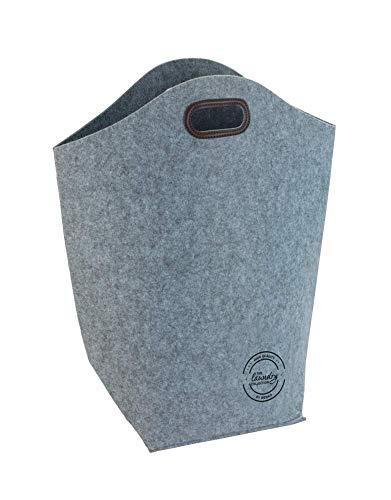 WENKO Wäschesammler Filz, Wäschekorb aus recyceltem Material mit Tragegriffen Fassungsvermögen: 42 l, 45 x 60 x 25 cm, grau